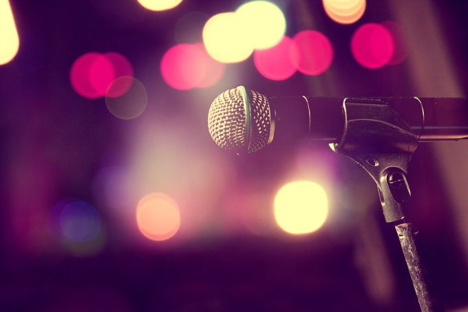 Microphone and stage lights.Concert and music concept